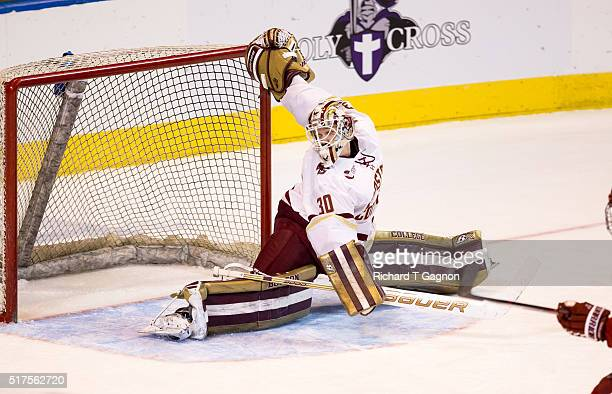 Thatcher Demko of the Boston College Eagles makes a split save against the Harvard Crimson during game two of the NCAA Division I Men's Ice Hockey...