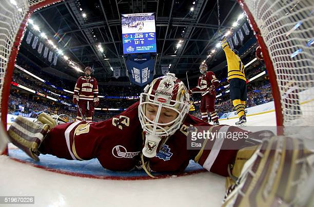 Thatcher Demko of the Boston College Eagles reacts after Landon Smith of the Quinnipiac Bobcats scored in the second period during semifinals of the...