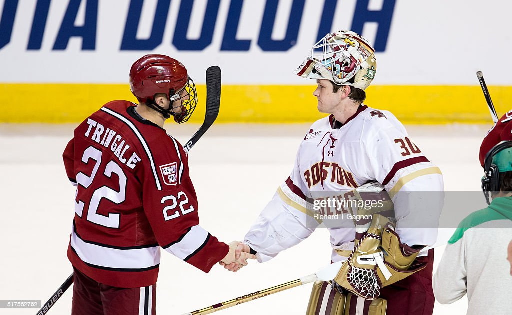 Thatcher Demko #30 of the Boston College Eagles shakes hands with Devin Tringale #22 of the Harvard Crimson after a game two of the NCAA Division I Men's Ice Hockey Northeast Regional Championship Semifinals at the DCU Center on March 25, 2016 in Worcester, Massachusetts. The Eagles won 4-1.