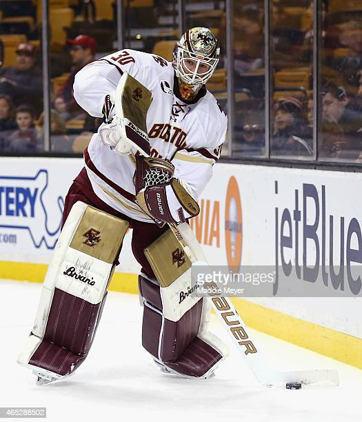Thatcher Demko of the Boston College Eagles skates against the Harvard Crimson during the 2015 Beanpot Tournament consolation game at TD Garden on...