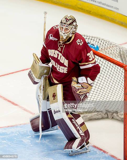 Thatcher Demko of the Boston College Eagles tends goal against the Connecticut Huskies during NCAA hockey at the XL Center on November 5 2014 in...
