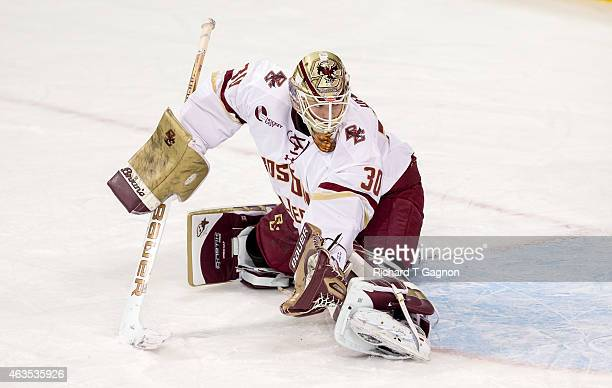 Thatcher Demko of the Boston College Eagles tends goal against the Vermont Catamounts during NCAA hockey at Kelley Rink on February 13 2015 in...