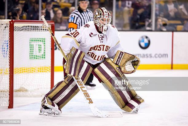 Thatcher Demko of the Boston College Eagles tends goal against the Harvard Crimson during NCAA hockey in the semifinals of the annual Beanpot Hockey...