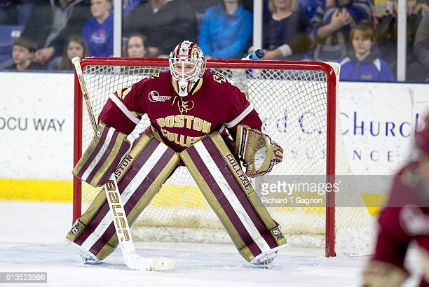 Thatcher Demko of the Boston College Eagles tends goal during NCAA hockey against the Massachusetts Lowell River Hawks at the Tsongas Center on...