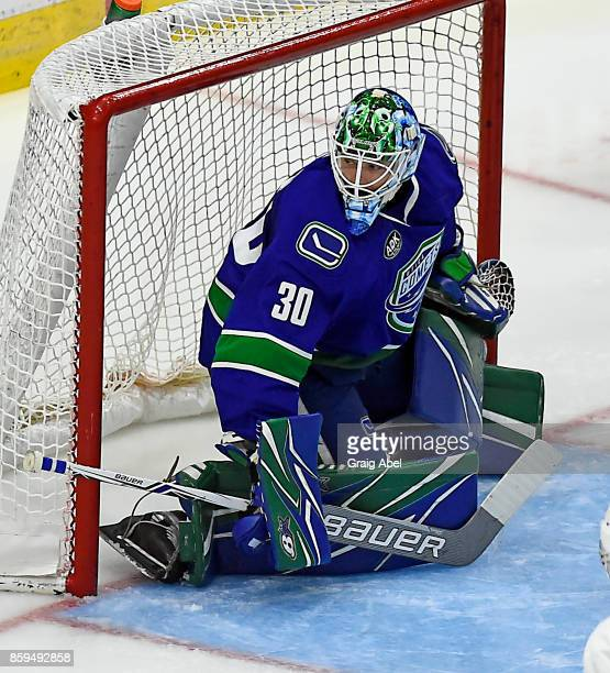 Thatcher Demko of the Utica Comets prepares for a shot against the Toronto Marlies during AHL game action on October 7 2017 at Ricoh Coliseum in...