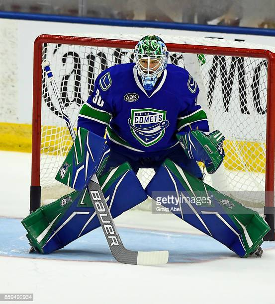 Thatcher Demko of the Utica Comets skates in warmup prior to a game against the Toronto Marlies on October 7 2017 at Ricoh Coliseum in Toronto...