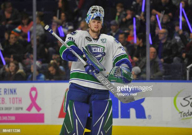 Thatcher Demko of the Utica Comets skates onto the ice during a game against the Bridgeport Sound Tigers at the Webster Bank Arena on December 2 2017...