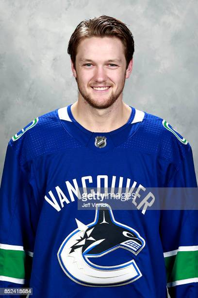 Thatcher Demko of the Vancouver Canucks poses for his official headshot for the 20172018 season on September 12 2017 at Rogers Arena in Vancouver...