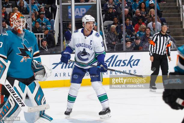 Thatcher Demko of the Vancouver Canucks skates against the San Jose Sharks at SAP Center on November 11 2017 in San Jose California
