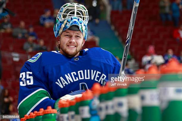 Thatcher Demko of the Vancouver Canucks skates past the bench during warmup before his first NHL game against the Columbus Blue Jackets at Rogers...