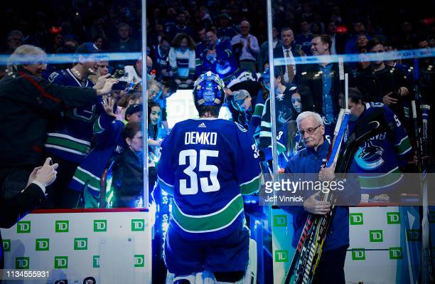 Thatcher Demko of the Vancouver Canucks walks off the ice after their NHL game against the San Jose Sharks at Rogers Arena April 2, 2019 in...