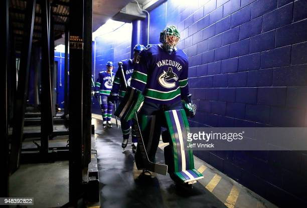 Thatcher Demko of the Vancouver Canucks walks out to the ice during their NHL game against the Columbus Blue Jackets at Rogers Arena March 31 2018 in...