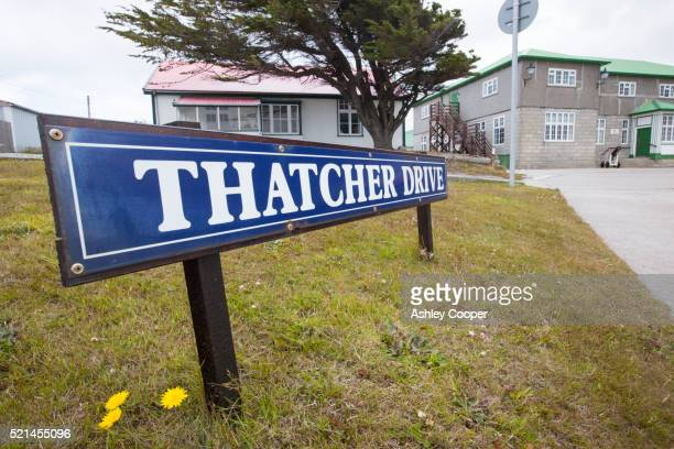 thatcher drive in port stanley, the capital of the falkland islands, named after margaret thatcher - falklands war stock pictures, royalty-free photos & images
