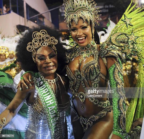 Thathiana Pagung and Elza Soares of Mocidade samba school prepare for their parade as part of the 2010 Carnival on February 15, 2010 in Rio de...