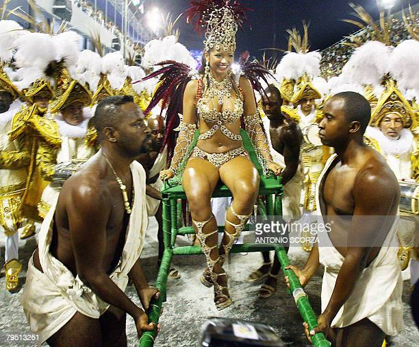 Thatiana Pagung Queen of the Drums of Mocidade Independente de Padre Miguel is carried at the front of her samba school opening their parade at the...