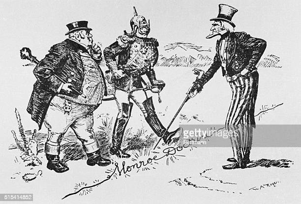 'That's a live wire gentlemen' Uncle Sam warning John Bull and Kaiser Wilhelm not to transgress American territory