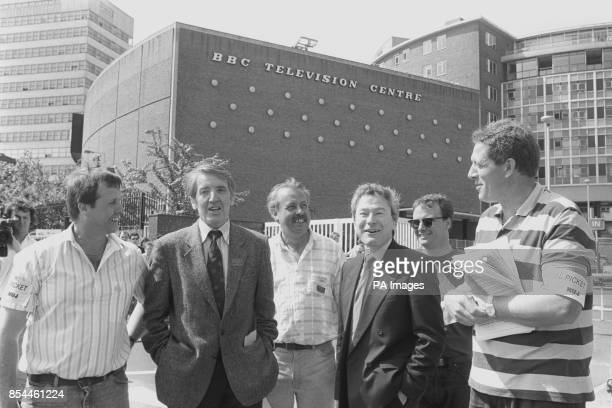 That's Life presenter Gavin Campbell on the picket line with BBC workers Dave Mears and Barry Price outside Television Centre in London to protest at...