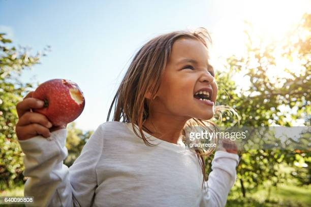 that's sweeeeeet!!! - kid girl eating apple stock photos and pictures