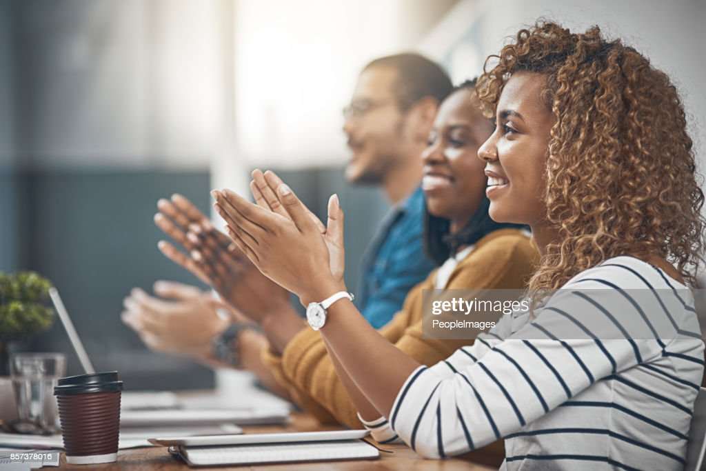 That's what you call a good meeting! : Stock Photo