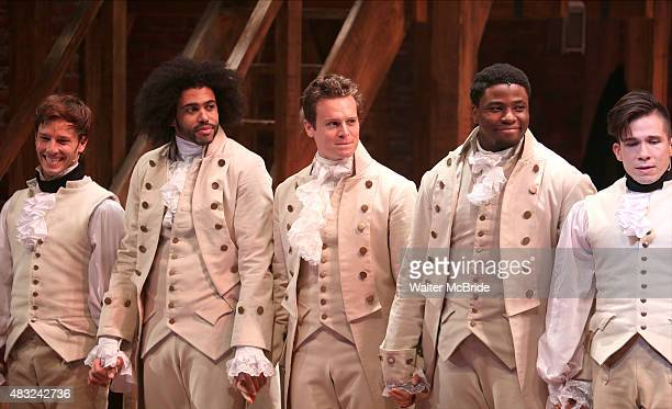 Thayne Jasperson Daveed Diggs Jonathan Groff Okieriete Onaodowan and John Rua during the Broadway opening night performance of 'Hamilton' at the...