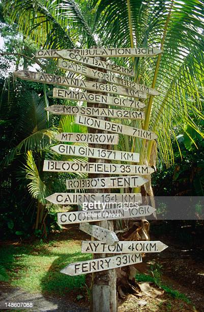 The 0. marker signpost giving directions to many different destinations, Cape Tribulation.