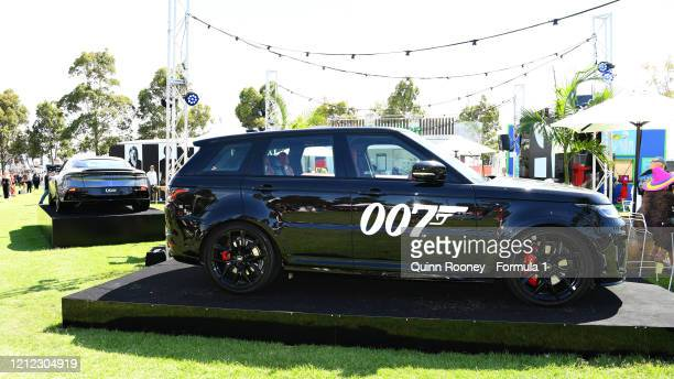 The 007 James Bond stand is pictured in the fan area during previews ahead of the F1 Grand Prix of Australia at Melbourne Grand Prix Circuit on March...