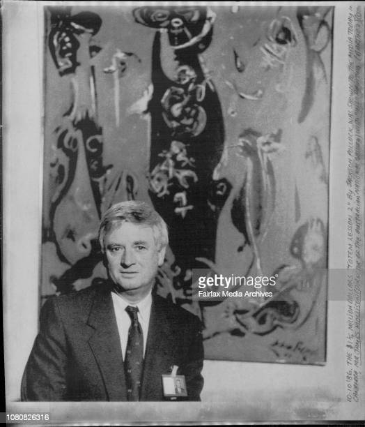The 1¼ million dollars 'Totem Lesson 2' By Jackson Pollock was shown to the media today in Canberra Mr James Mollison with 'His' painting October 10...