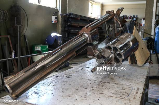 The 100kg giant iron weapon made by Zafer Erdem a kinetic sculptor from Rize is seen in Istanbul Turkey on July 22 2018 Making the giant iron weapon...