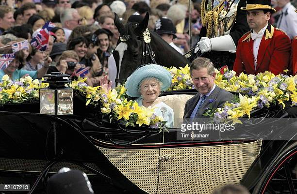 The 100th Birthday Of The Queen Mother Prince Charles Escorting His Grandmother In A Carriage Procession To Buckingham Palace