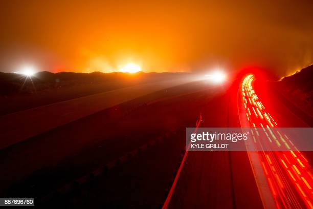 The 101 Highway was closed after the Thomas Fire jumped the road towards the Pacific Coast Highway in Ventura California December 7 2017 Local...
