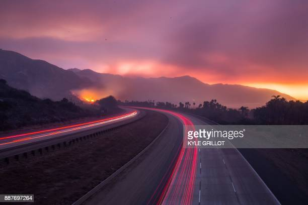 TOPSHOT The 101 Highway was closed after the Thomas Fire jumped the road towards the Pacific Coast Highway in Ventura California December 7 2017...