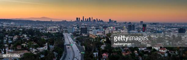 The 101 Through Hollywood with DTLA Skyline - Aerial Panorama