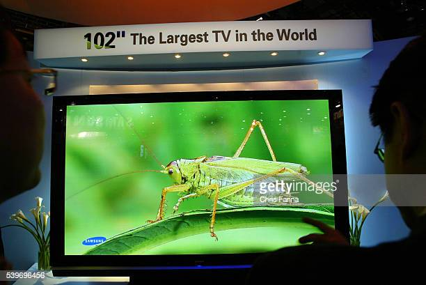 The 102 inch largest Plasma TV in the world on display at the Samsung booth at the 2005 International Consumer Electronics Show at the Las Vegas...