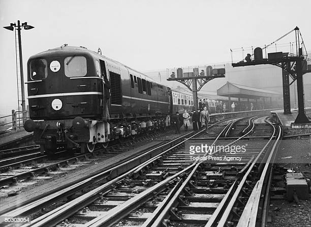 The 10202, a new British Railways diesel electric locomotive leaves Waterloo Station in London, 15th October 1951. Similar in design to the 10201, it...