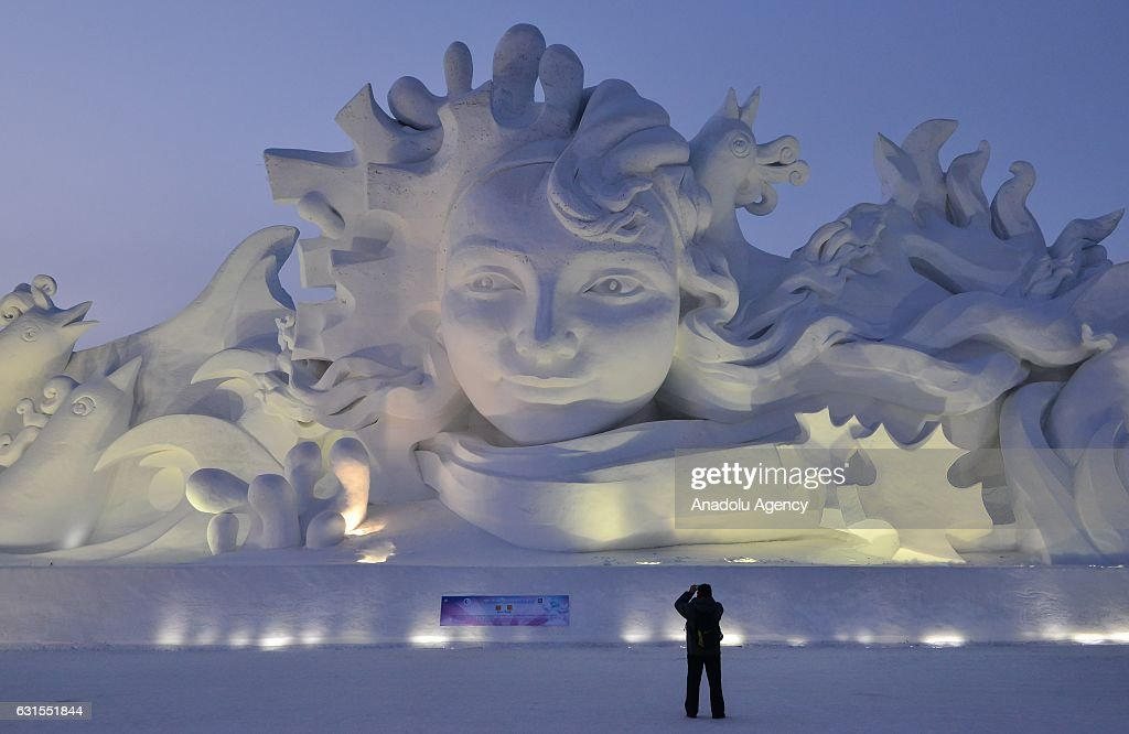 The 103-meter-long snow sculpture named Long Song' is being displayed during the 29th Harbin Sun Island International Snow Sculpture Art Expo in Harbin, China on January 12, 2017.