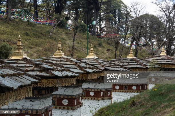 The 108 Druk Wangyal Khang Zhang Chortens or stupas are a sacred Bhuddist memorial They are redband or khangzang chortens and are located on a...