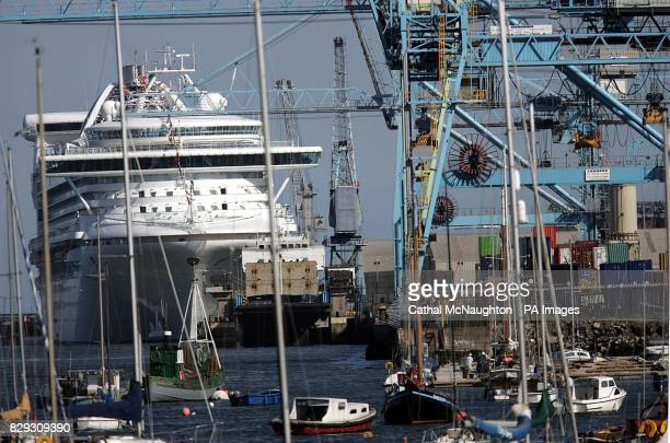 The 108806 tonne cruise ship the Grand Princess docked in Dublin Port The largestever ship to visit Dublin docked in the city's port today and will...