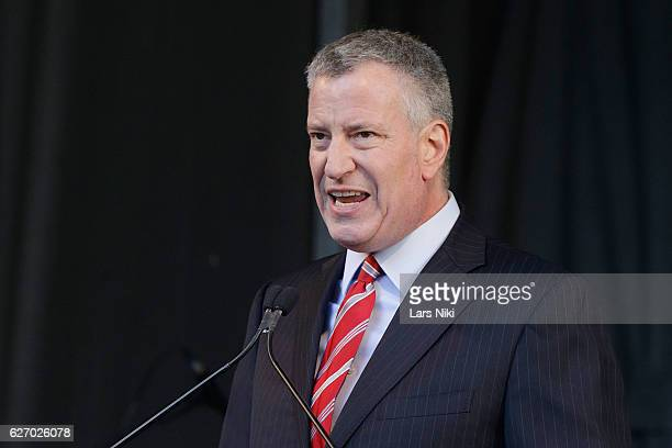 The 109th Mayor of New York City Bill de Blasio addresses the audience at the New York City AIDS Memorial during World AIDS Day 2016 on December 1...