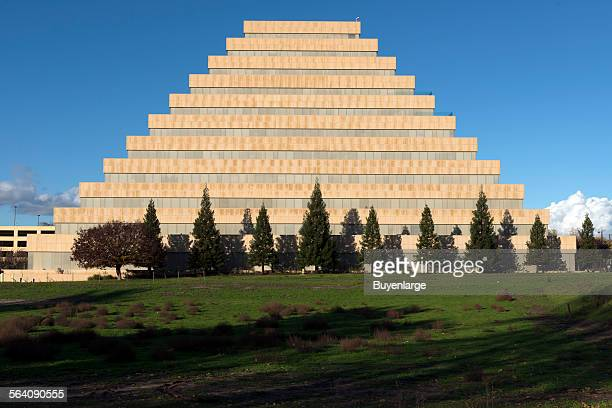 The 10story Ziggurat a pyramidal state office building along the Sacramento River across from downtown Sacramento California capital city