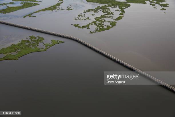 The $11 billion Lake Borgne Surge Barrier stands near the confluence of and across the Gulf Intracoastal Waterway and the Mississippi River Gulf...