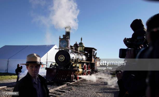 The 119 steam engine makes it way into place for the 150th anniversary of the driving of the Golden Spike on May 10 2019 in Promontory Utah The...