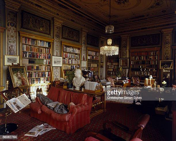 The 11th Duke of Devonshire takes a nap in the Lower Library of Chatsworth House Derbyshire circa 1995