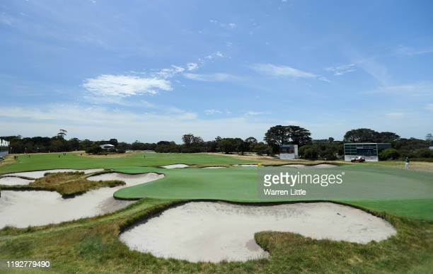 The 11th green is pictured during previews ahead of the 2019 Presidents Cup held at Royal Melbourne Golf Club on December 09 2019 in Melbourne...