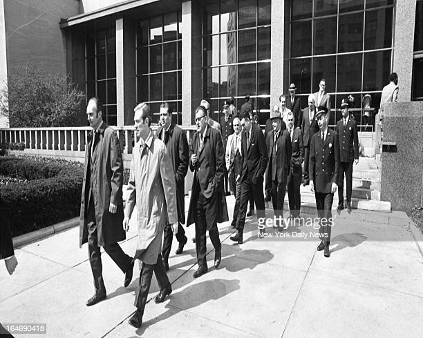 The 12 men of the Alice Crimmins jury are escorted to lunch.