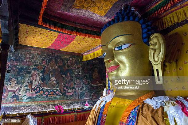LADAKH SHEY JAMMU KASHMIR INDIA The 12 meters high copper with gilded gold statue of the Shakyamuni Buddha is one of the main attractions in Shey...