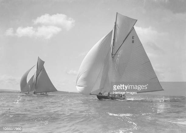 The 12 Metre class yachts 'Rollo' and 'Javotto' racing under spinnaker 1911 'Javotto' was designed by Alfred Mylne and built in 1909 Johan Anker the...