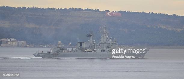 The 121 bow numbered Russian Navy's guided missile cruiser 'Moskva' passes through the Dardanelles Strait in Canakkale Turkey on January 8 2016