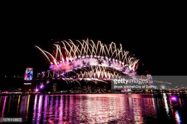 The 12am fireworks during New Year's Eve celebrations on January 01 2018 in Sydney Australia