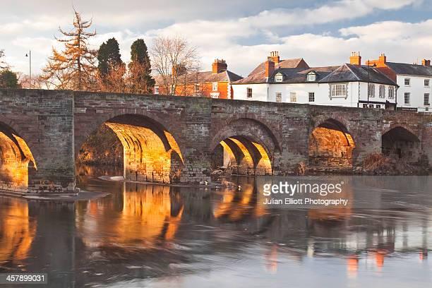 The 12th century Wye Bridge over the River Wye.