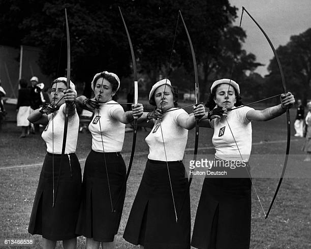The 12th International Archery Tournament held at Dulwich College, London, England, in 1948. The Czechoslovakian women competitors are photographed....
